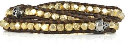 Chan Luu 14-Karat Gold-Vermeil Leather Skull Bracelet