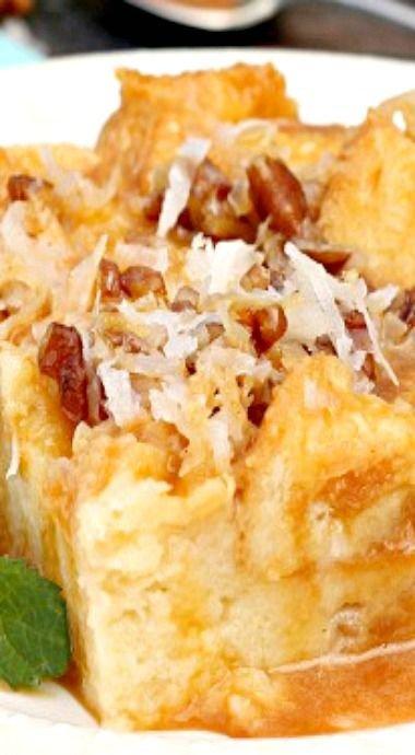 Caramel and Coconut Cream Bread Pudding
