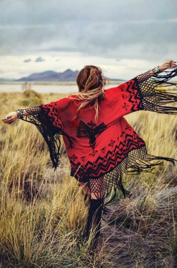 Red and Black Fringe Kimono Jacket