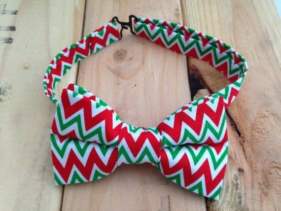Chevron Christmas Bow Tie