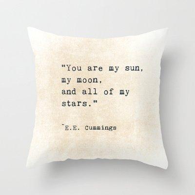 EE Cummings, Sun Moon Stars Throw Pillow