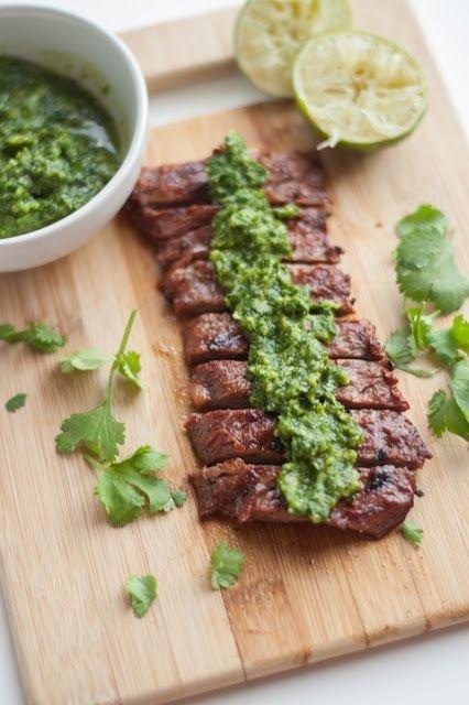 Cilantro Lime Skirt Steak and Chimichurri Sauce