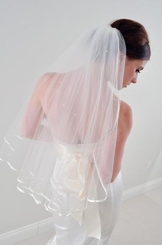 Ribbon Edged Veil with Swarovski Crystals