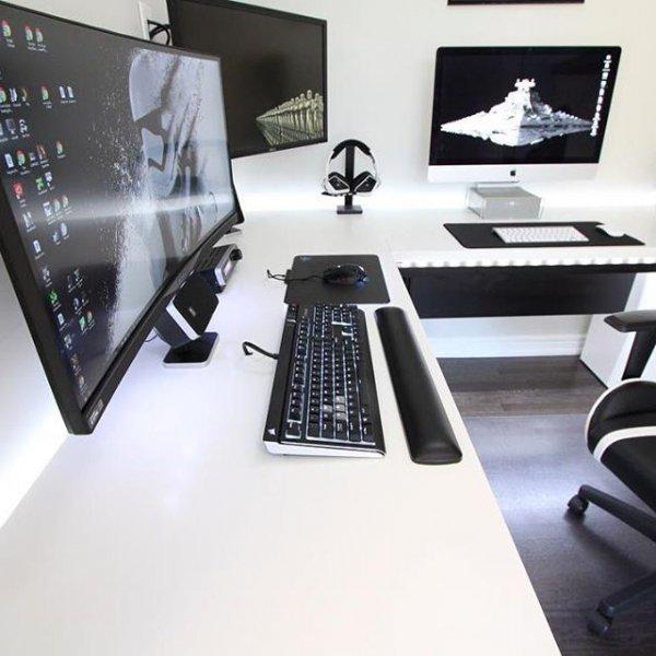 room, desk, furniture, computer monitor, display device,