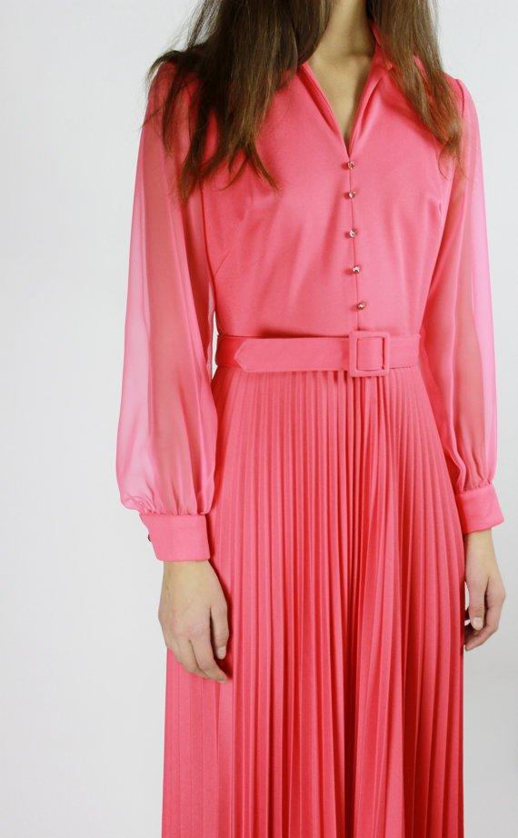 Bright Pink Accordian Maxi Dress