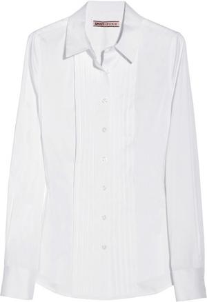 DKNY Pleated Cotton-blend Shirt