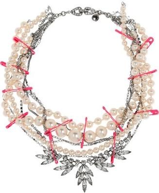 Tom Binns Rhodium and Pearl Multi Strand Necklace