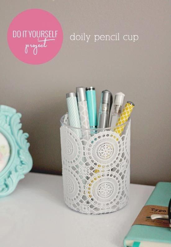 Make a Doily Pencil Cup