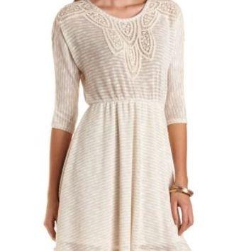 Crochet-Trimmed Striped Sweater Dress - Oatmeal Heather