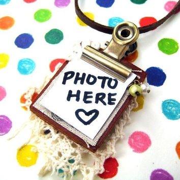 Miniature Clip Board Leather Memo Pad Photo Frame Pendant Necklace