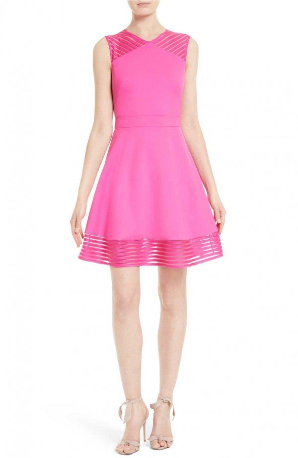 dress, clothing, day dress, pink, magenta,