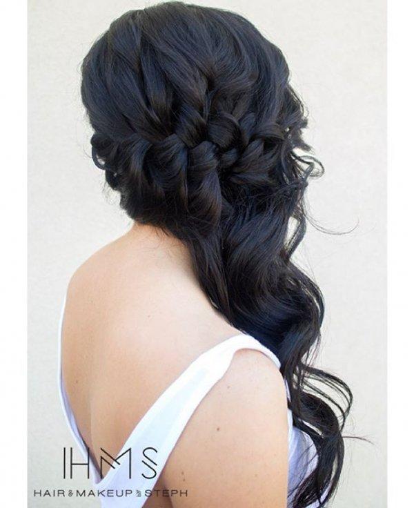 Braided Long Sideswept Hair