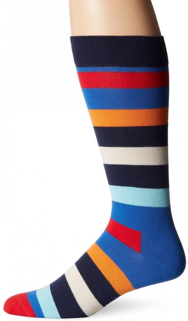 Men's Combed Cotton Stripe Crew Sock