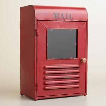 Red Metal Mailbox Desk Organizer