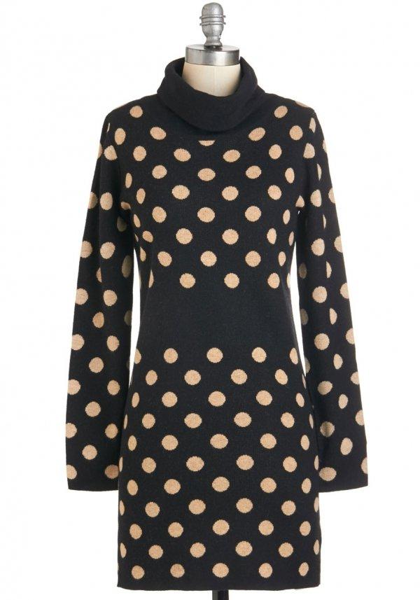 ModCloth Mid-length Long Sleeve Sweater Dress a Dapple a Day Dress