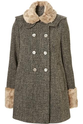 Topshop Boucle Faux Fur Collar Coat