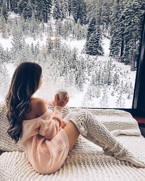 girl, winter, long hair, tree,