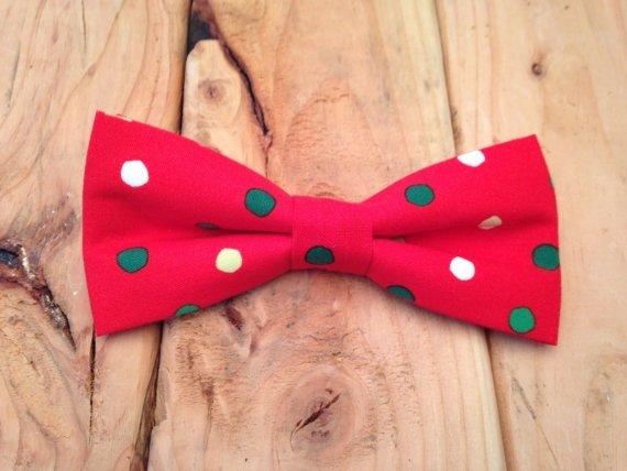 Adjustable Christmas Polka Dot Bow Tie