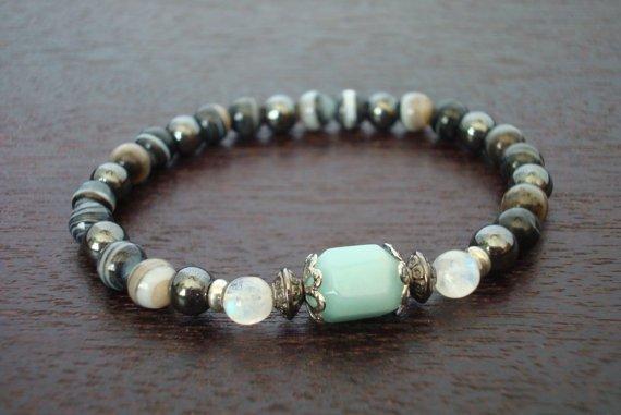 Amazonite and Moonstone Mala Bracelet