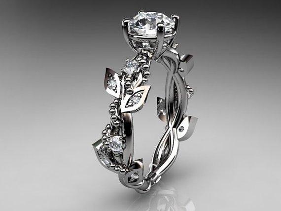 14kt White Gold Diamond Leaf and Vine Ring