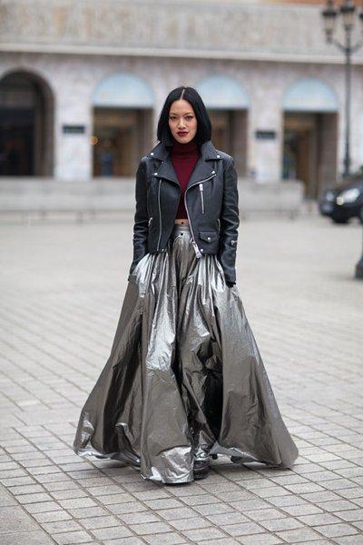 M = Metallic Maxi Skirt