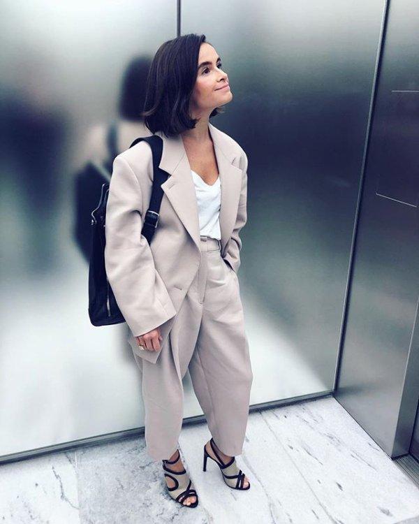White, Clothing, Street fashion, Blazer, Suit,