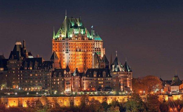 Quebec City, landmark, historic site, building, night,