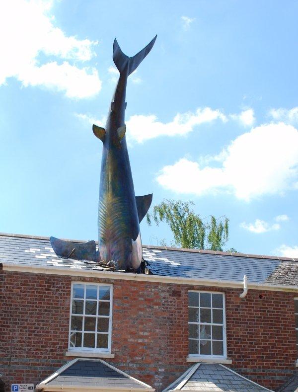 The Headington Shark, windmill, finial, town, steeple,