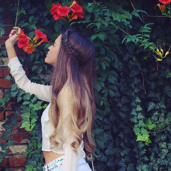 hair, red, hairstyle, flower, long hair,