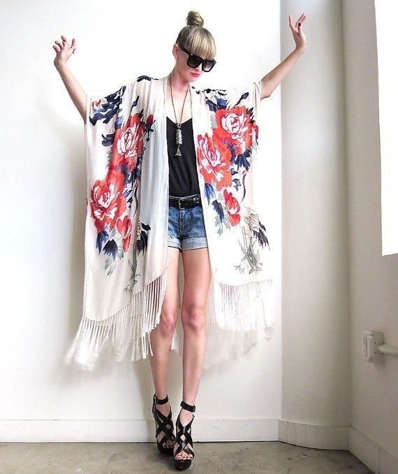 Large Rose Print Kimono