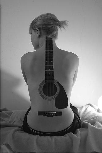 black,white,black and white,guitar,acoustic guitar,