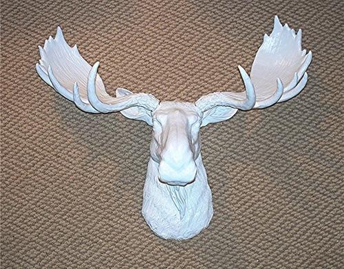 White Moose Faux Taxidermy Mount