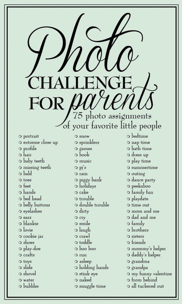 Jamie Moore Photo Challenge for Parents