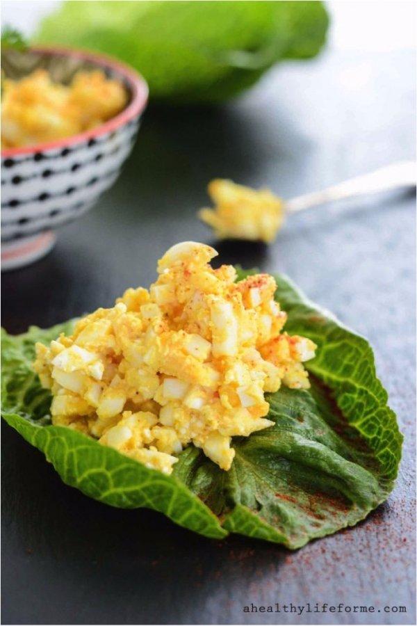 Egg Salad in Lettuce Cups