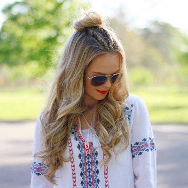 clothing, eyewear, hair, blond, vision care,