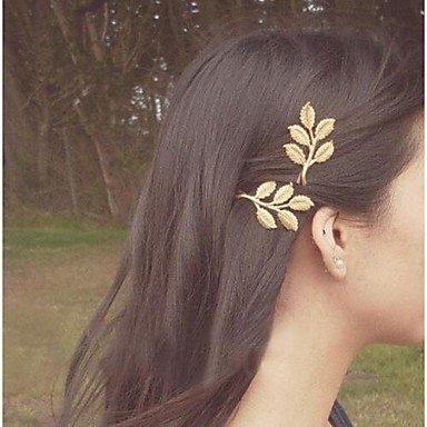 Three-dimensional Golden Leaf Retro Hairpins