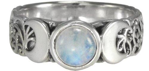 Triple Crescent Moon Goddess Rainbow Moonstone Ring