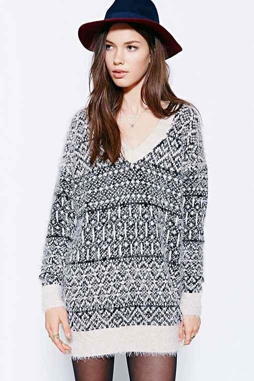 Ecote Andari Sweater Dress- Black & White