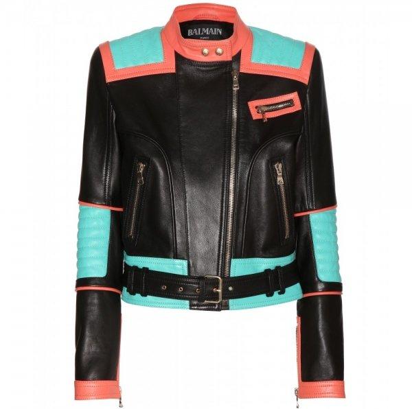 Balmain Color Block Leather Jacket