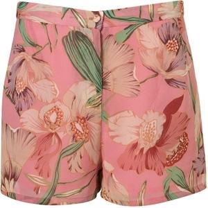Topshop Pink Lily Print Shorts