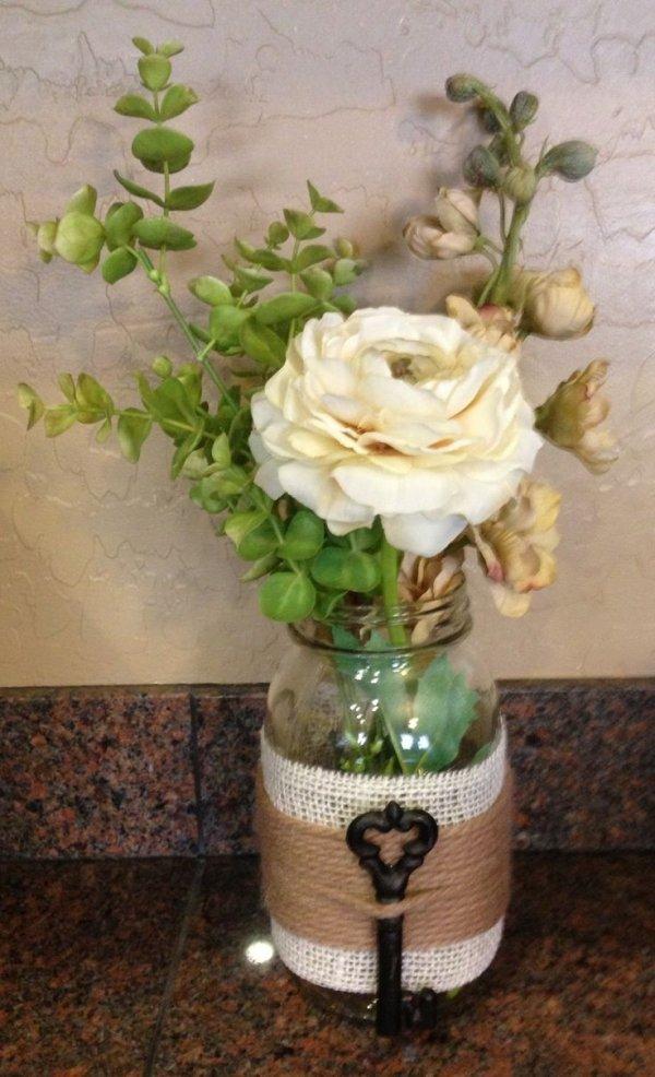 Embellished Mason Jar Vase