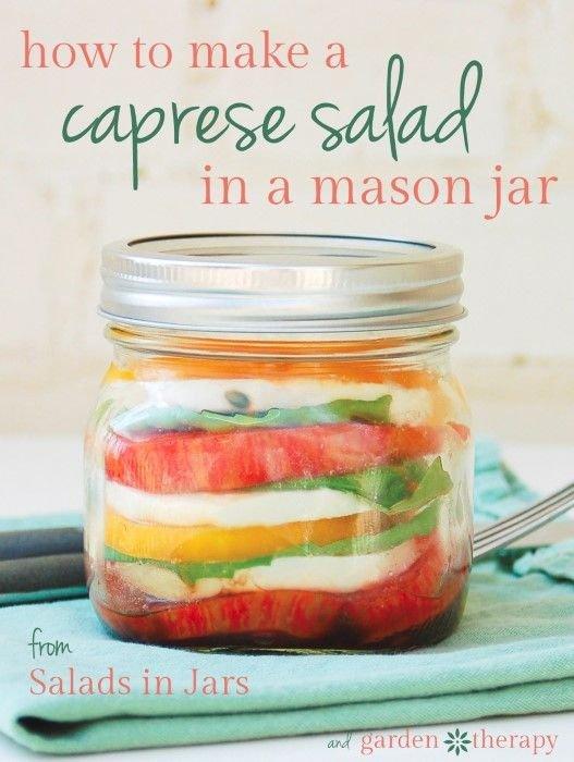 Portable Caprese Salad in a Mason Jar