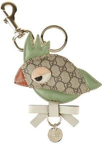 Gucci Leather and Canvas Bird Keyfob