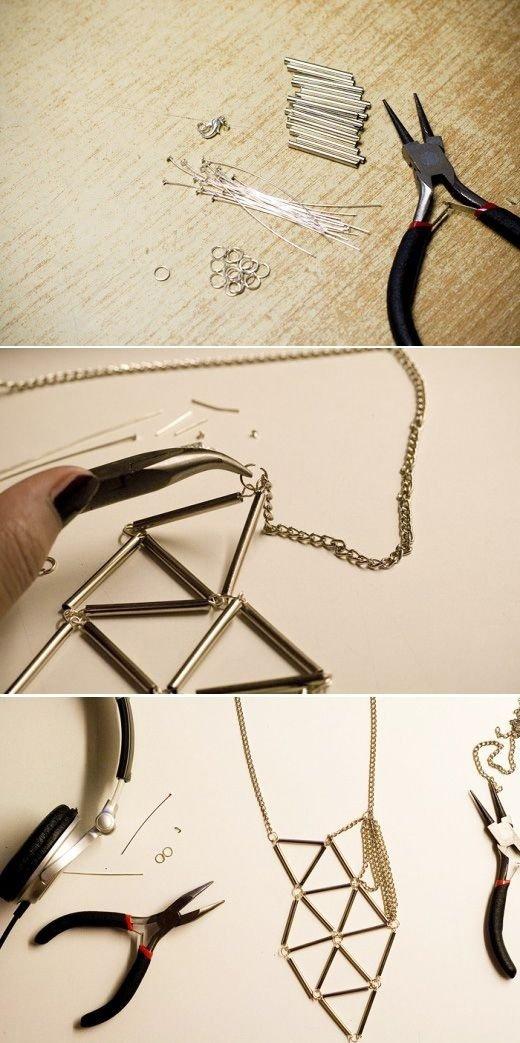 Bugle Geometric Necklace