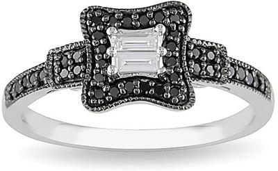White and Black Diamond Engagement Ring