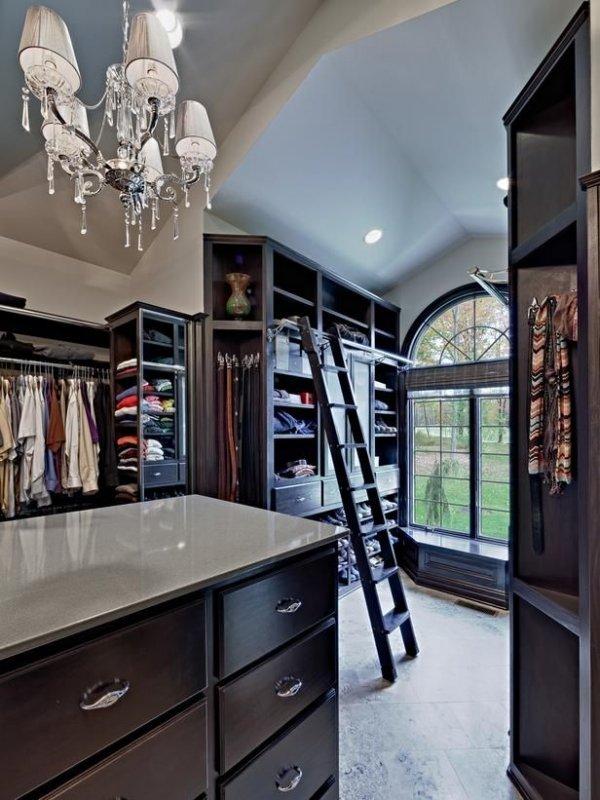 Stunning Wood Walk-in Closet