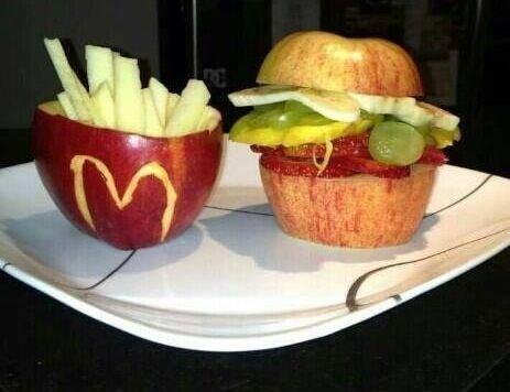 Mcdonalds Hamburger and French Fries