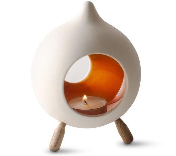 Hinterland Trading Footed Ceramic Orange Glazed Candle Holder, Teardrop