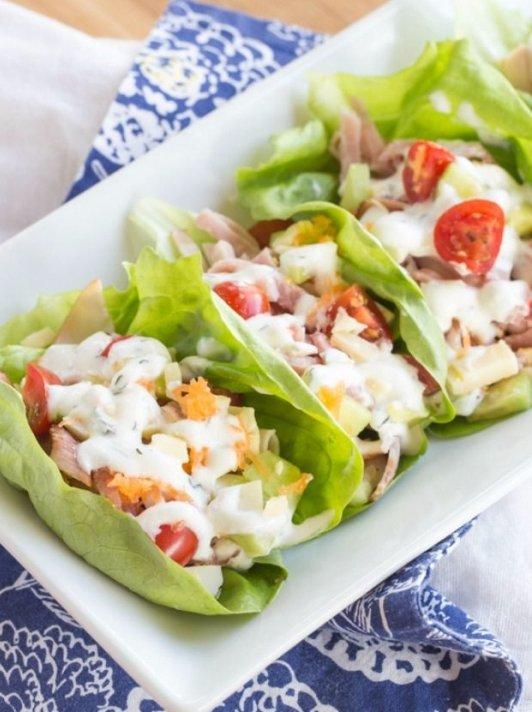 Chef's Salad Lettuce Wraps