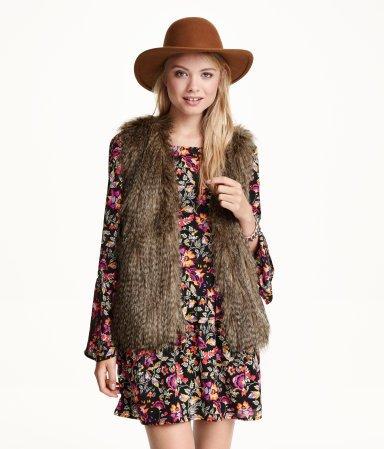 Brown Faux Fur Vest with Pockets